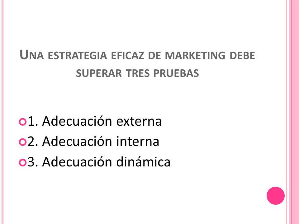 U NA ESTRATEGIA EFICAZ DE MARKETING DEBE SUPERAR TRES PRUEBAS 1.