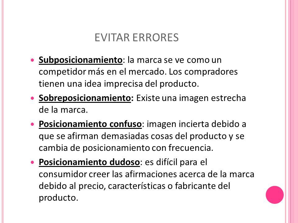 EVITAR ERRORES Subposicionamiento: la marca se ve como un competidor más en el mercado.