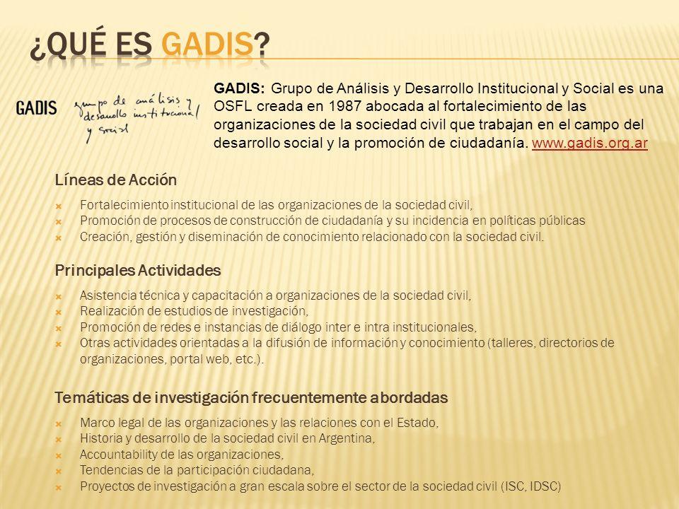 GADIS: Grupo de Análisis y Desarrollo Institucional y Social es una OSFL creada en 1987 abocada al fortalecimiento de las organizaciones de la sociedad civil que trabajan en el campo del desarrollo social y la promoción de ciudadanía.