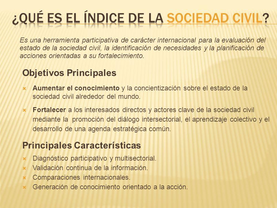Objetivos Principales Aumentar el conocimiento y la concientización sobre el estado de la sociedad civil alrededor del mundo.