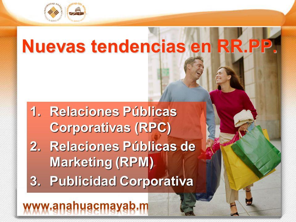 Nuevas tendencias en RR.PP. 1.Relaciones Públicas Corporativas (RPC) 2.Relaciones Públicas de Marketing (RPM) 3.Publicidad Corporativa
