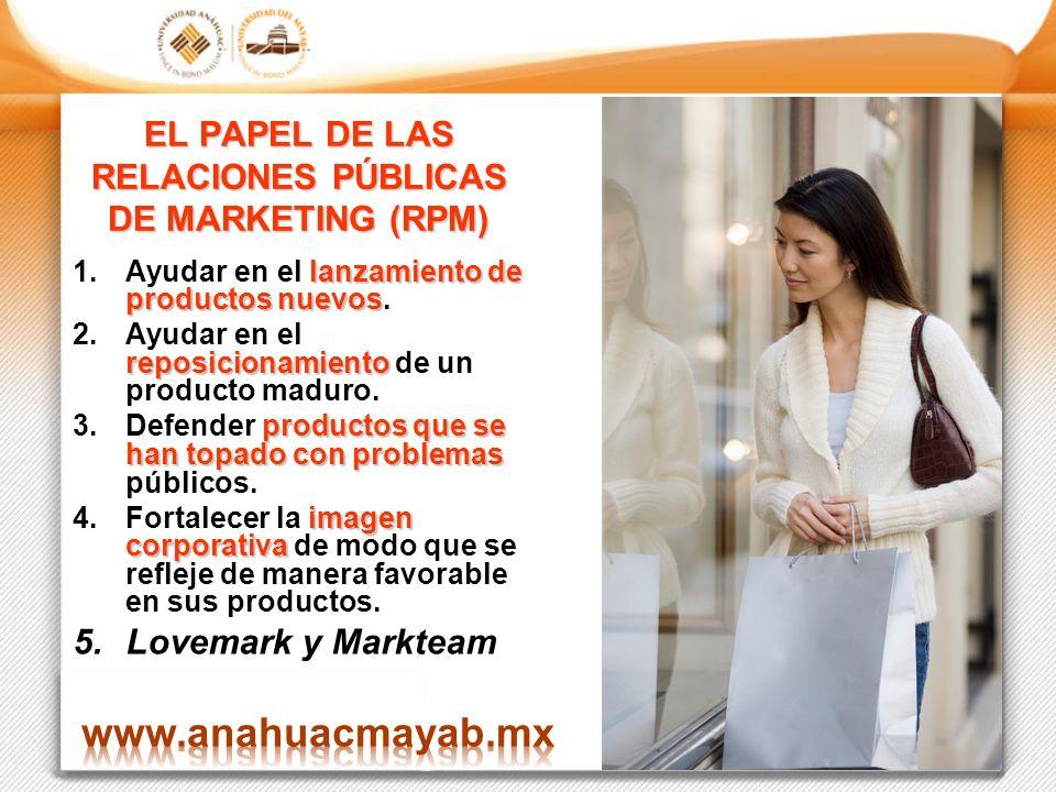 EL PAPEL DE LAS RELACIONES PÚBLICAS DE MARKETING (RPM) lanzamiento de productos nuevos 1.Ayudar en el lanzamiento de productos nuevos. reposicionamien