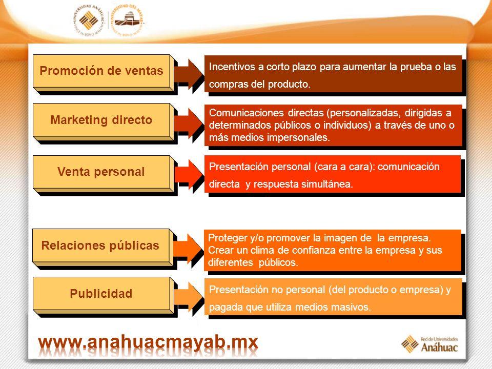 Publicidad Presentación no personal (del producto o empresa) y pagada que utiliza medios masivos. Promoción de ventas Incentivos a corto plazo para au