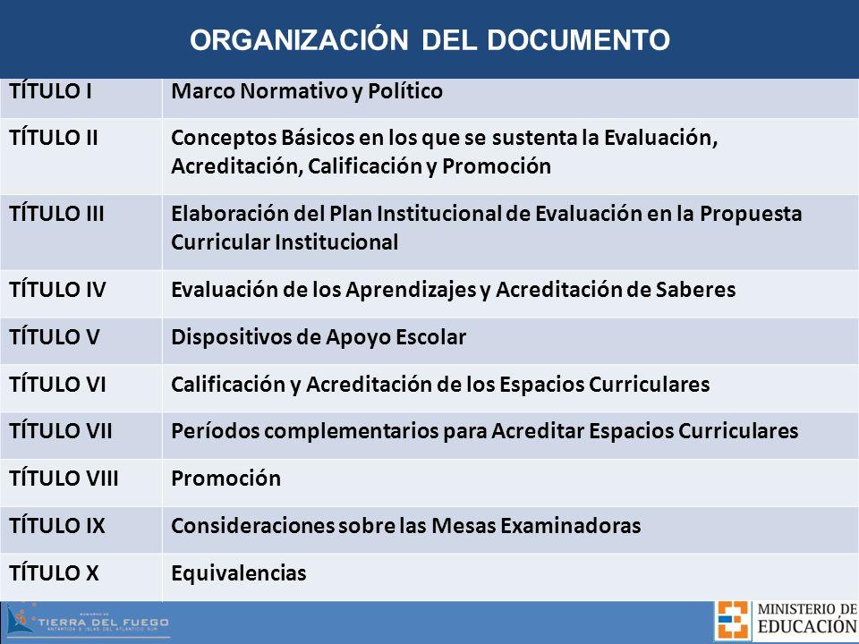 TÍTULO IMarco Normativo y Político TÍTULO IIConceptos Básicos en los que se sustenta la Evaluación, Acreditación, Calificación y Promoción TÍTULO IIIE