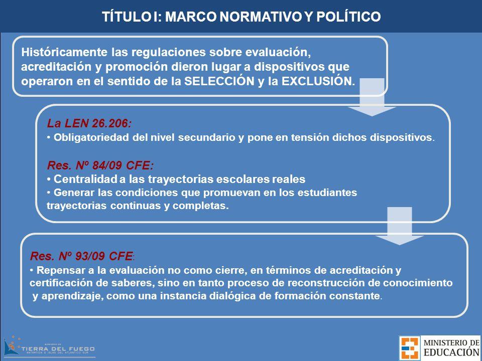 TÍTULO I: MARCO NORMATIVO Y POLÍTICO Históricamente las regulaciones sobre evaluación, acreditación y promoción dieron lugar a dispositivos que operar