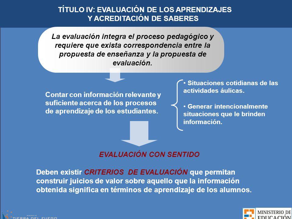 TÍTULO IV: EVALUACIÓN DE LOS APRENDIZAJES Y ACREDITACIÓN DE SABERES La evaluación integra el proceso pedagógico y requiere que exista correspondencia