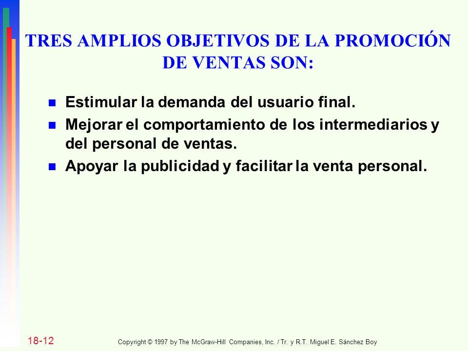 TRES AMPLIOS OBJETIVOS DE LA PROMOCIÓN DE VENTAS SON: n Estimular la demanda del usuario final.