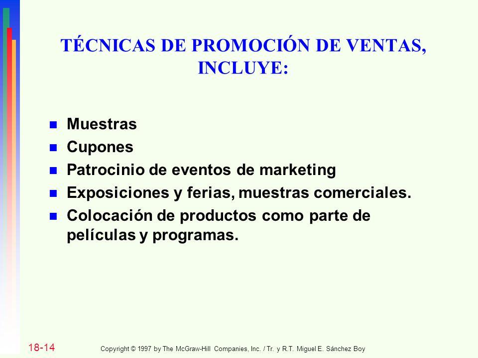 TÉCNICAS DE PROMOCIÓN DE VENTAS, INCLUYE: n Muestras n Cupones n Patrocinio de eventos de marketing n Exposiciones y ferias, muestras comerciales.