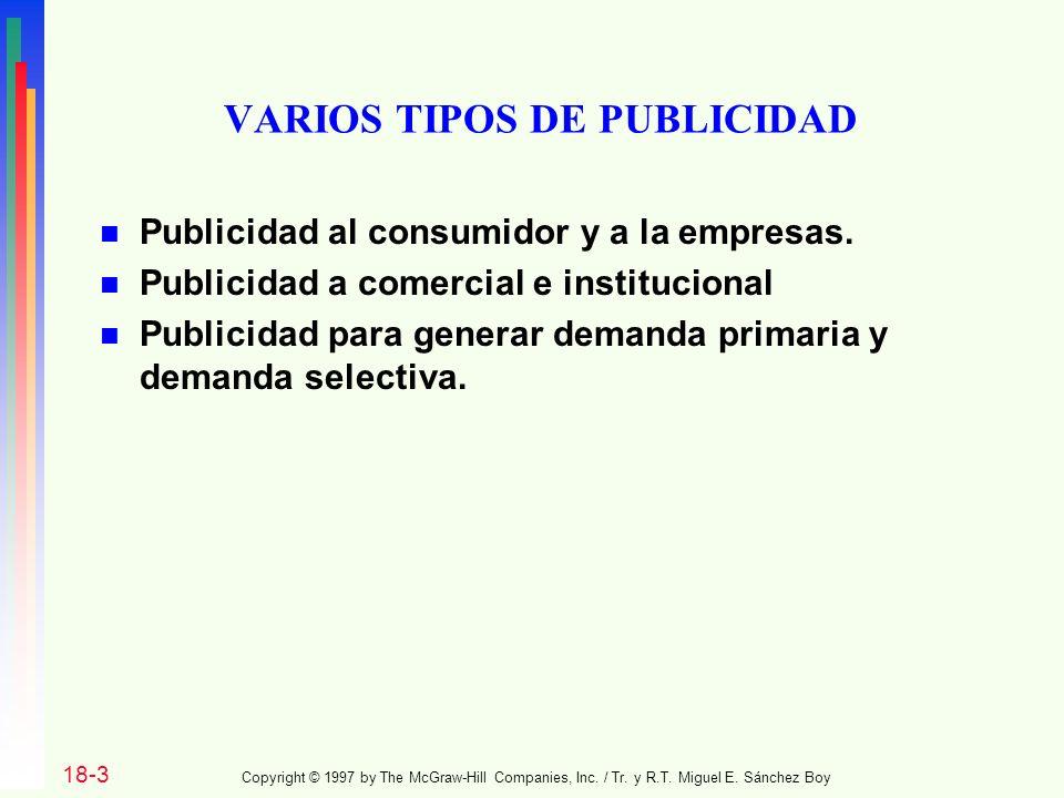 VARIOS TIPOS DE PUBLICIDAD n Publicidad al consumidor y a la empresas.