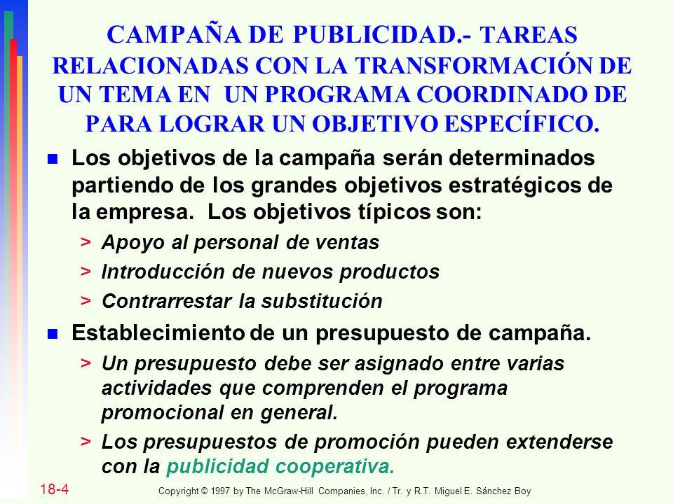 CAMPAÑA DE PUBLICIDAD.- TAREAS RELACIONADAS CON LA TRANSFORMACIÓN DE UN TEMA EN UN PROGRAMA COORDINADO DE PARA LOGRAR UN OBJETIVO ESPECÍFICO.