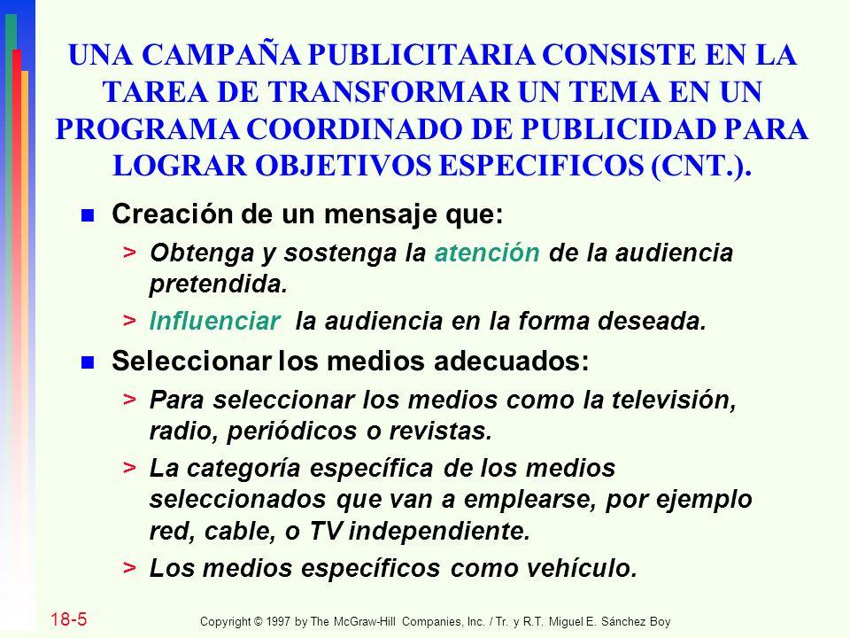 UNA CAMPAÑA PUBLICITARIA CONSISTE EN LA TAREA DE TRANSFORMAR UN TEMA EN UN PROGRAMA COORDINADO DE PUBLICIDAD PARA LOGRAR OBJETIVOS ESPECIFICOS (CNT.).
