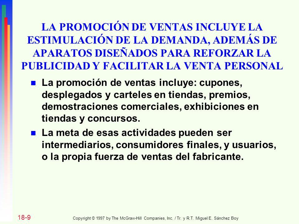 LA PROMOCIÓN DE VENTAS INCLUYE LA ESTIMULACIÓN DE LA DEMANDA, ADEMÁS DE APARATOS DISEÑADOS PARA REFORZAR LA PUBLICIDAD Y FACILITAR LA VENTA PERSONAL n La promoción de ventas incluye: cupones, desplegados y carteles en tiendas, premios, demostraciones comerciales, exhibiciones en tiendas y concursos.