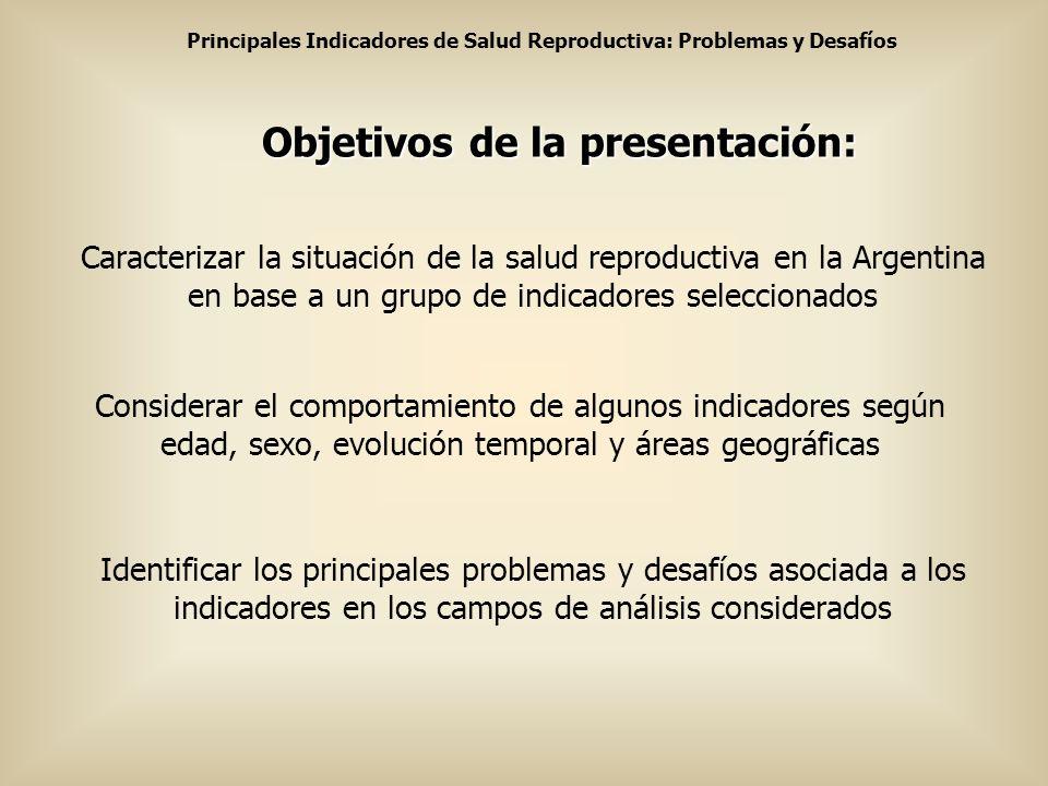 Principales Indicadores de Salud Reproductiva: Problemas y Desafíos Objetivos de la presentación: Caracterizar la situación de la salud reproductiva e