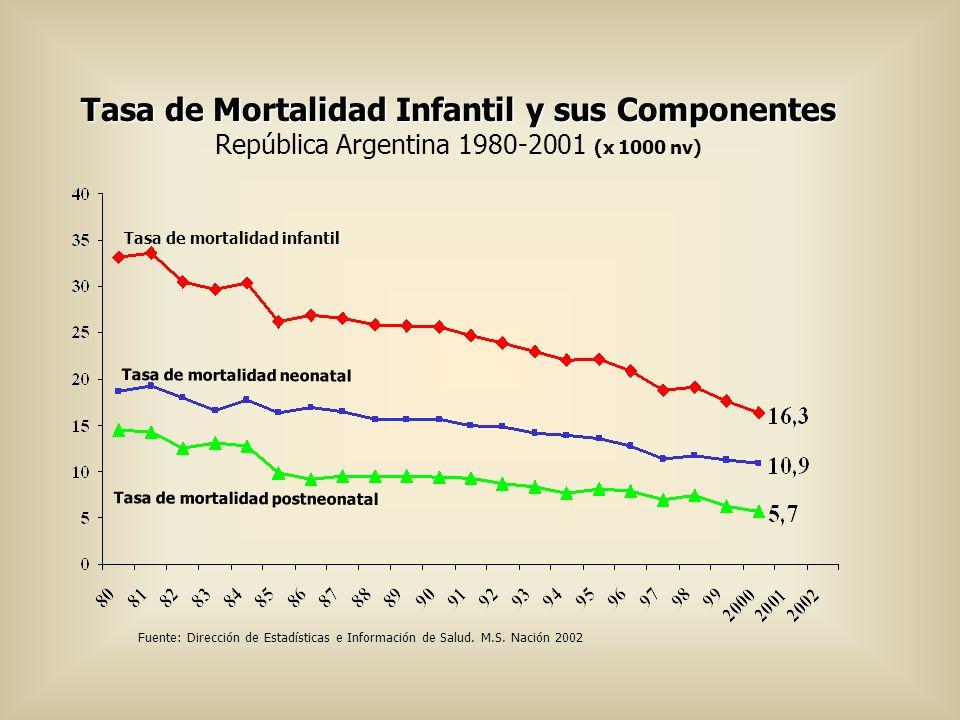 Tasa de Mortalidad Infantil y sus Componentes Tasa de Mortalidad Infantil y sus Componentes República Argentina 1980-2001 (x 1000 nv) Tasa de mortalid