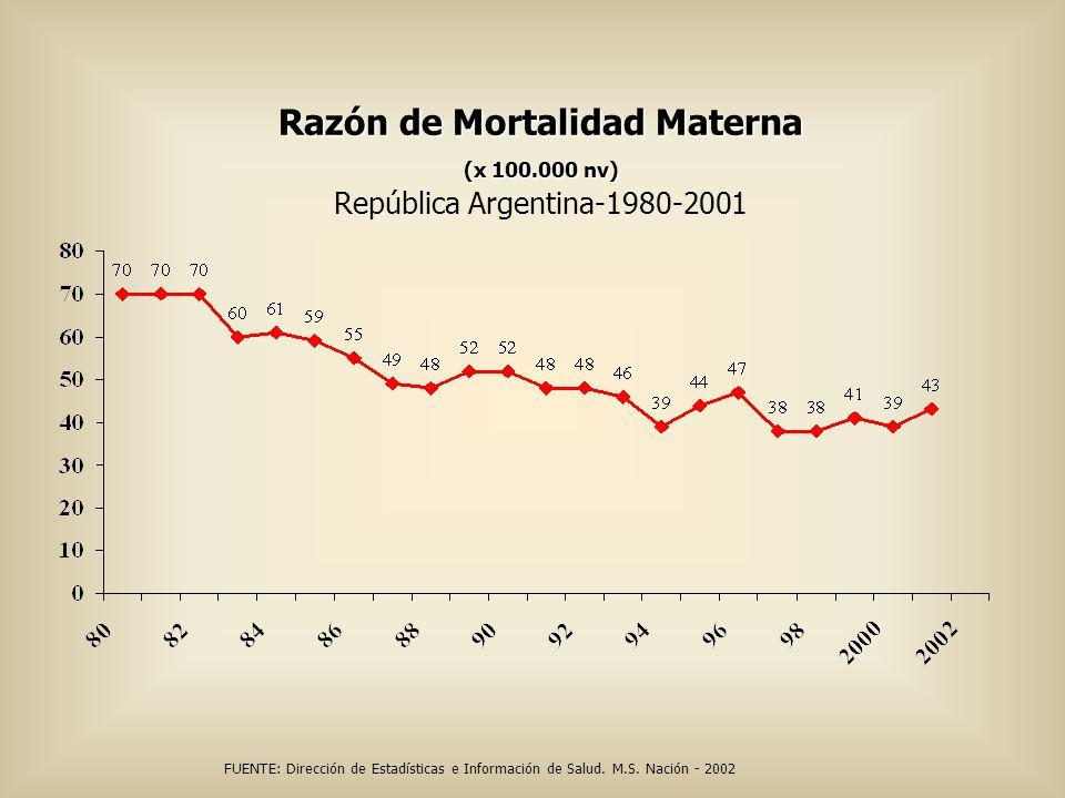Razón de Mortalidad Materna (x 100.000 nv) Razón de Mortalidad Materna (x 100.000 nv) República Argentina-1980-2001 FUENTE: Dirección de Estadísticas
