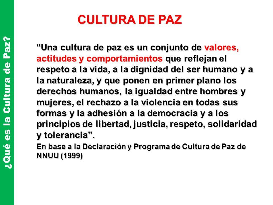 Una cultura de paz es un conjunto de valores, actitudes y comportamientos que reflejan el respeto a la vida, a la dignidad del ser humano y a la natur