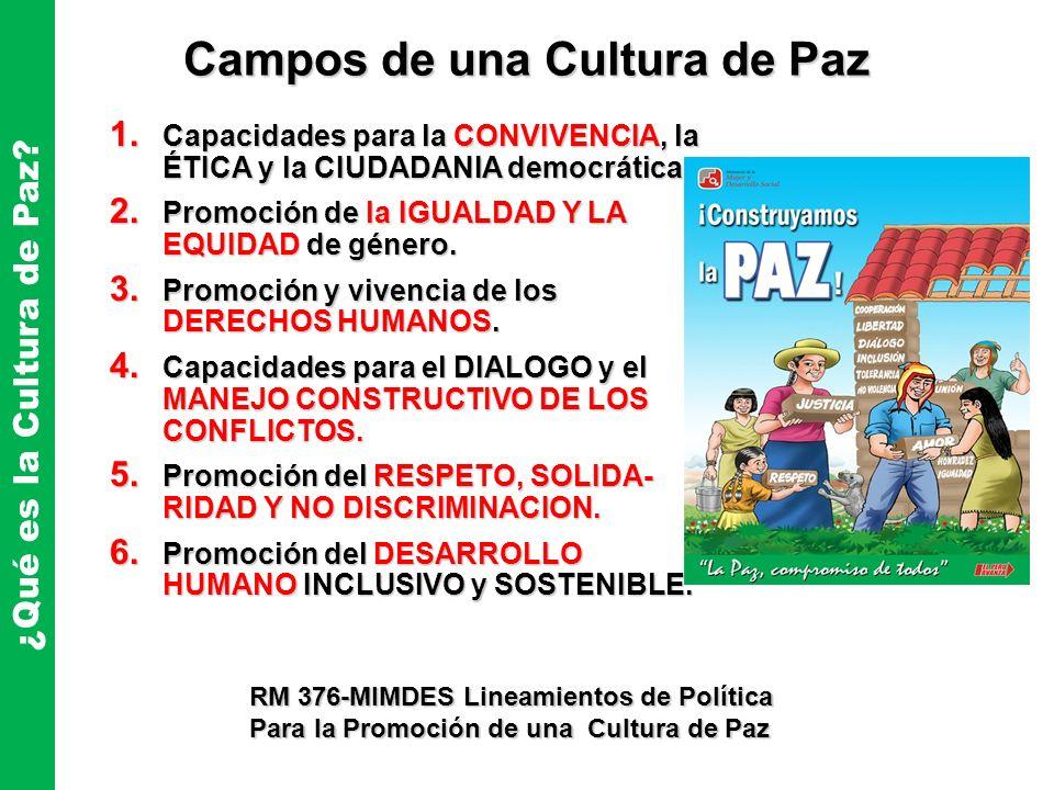 Campos de una Cultura de Paz ¿Qué es la Cultura de Paz? 1. Capacidades para la CONVIVENCIA, la ÉTICA y la CIUDADANIA democrática. 2. Promoción de la I