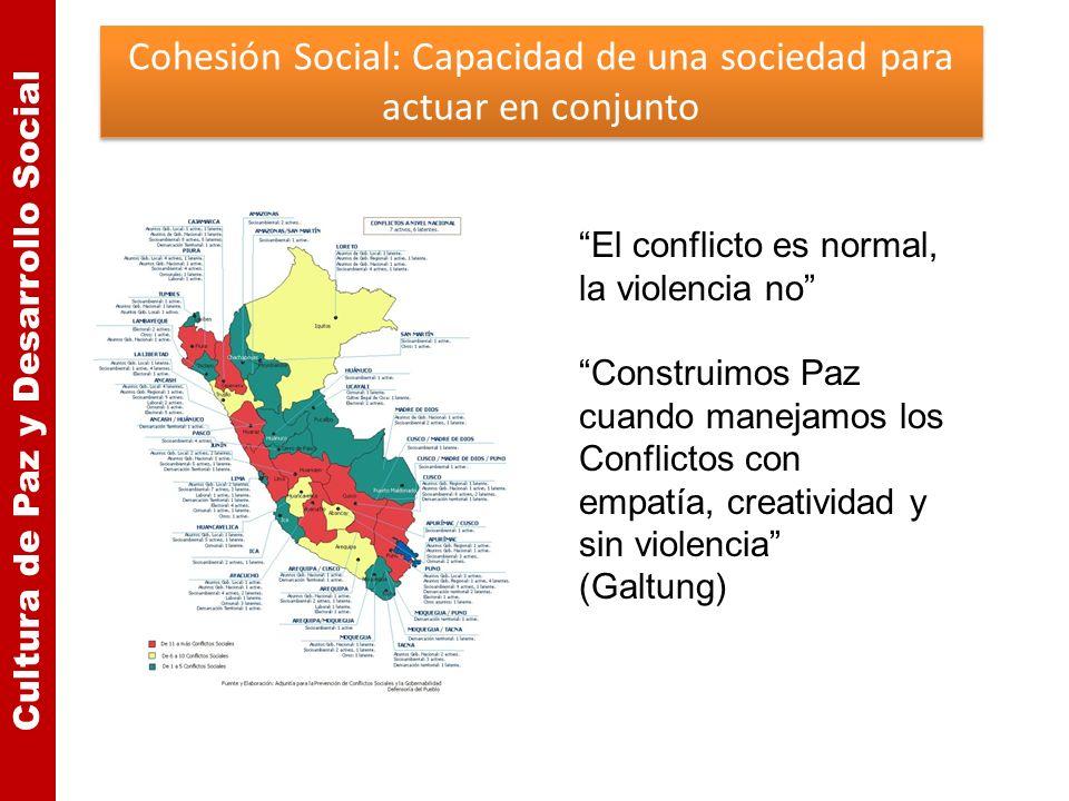 Cultura de Paz y Desarrollo Social Cohesión Social: Capacidad de una sociedad para actuar en conjunto El conflicto es normal, la violencia no Construi