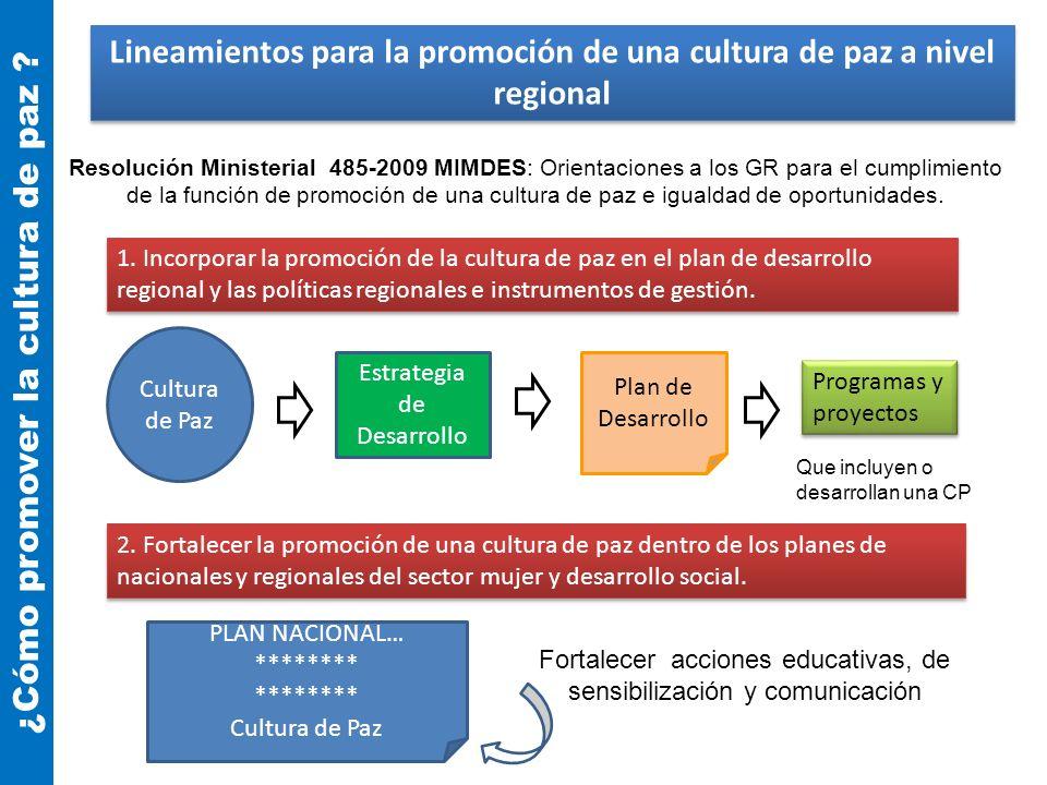 1. Incorporar la promoción de la cultura de paz en el plan de desarrollo regional y las políticas regionales e instrumentos de gestión. 2. Fortalecer