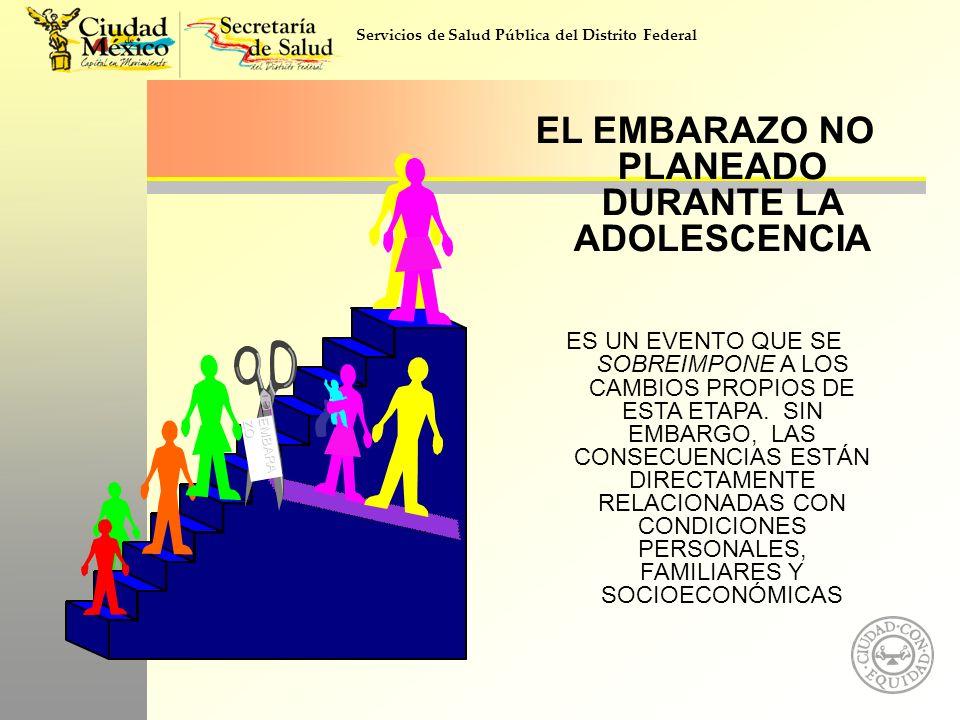 Servicios de Salud Pública del Distrito Federal EMBARA ZO EL EMBARAZO NO PLANEADO DURANTE LA ADOLESCENCIA ES UN EVENTO QUE SE SOBREIMPONE A LOS CAMBIO