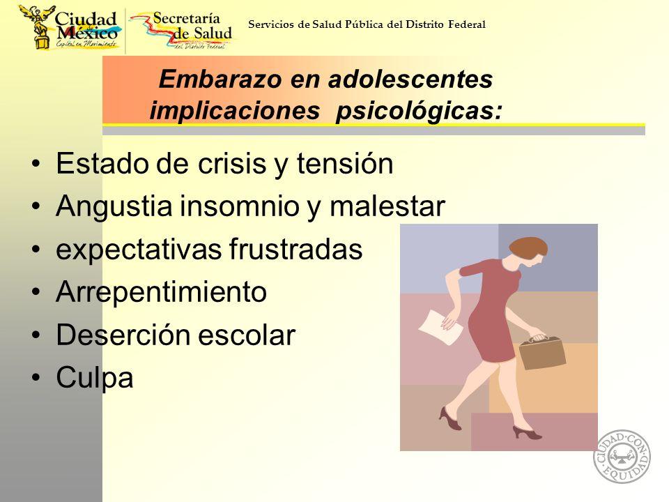 Servicios de Salud Pública del Distrito Federal Embarazo en adolescentes implicaciones psicológicas: Estado de crisis y tensión Angustia insomnio y ma
