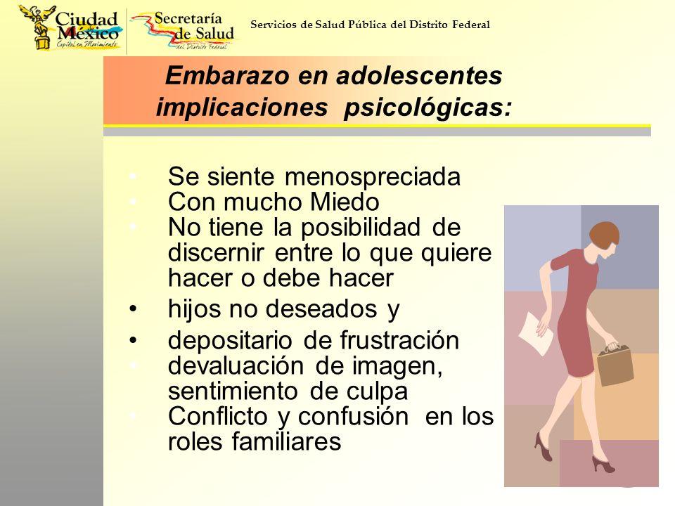 Servicios de Salud Pública del Distrito Federal Embarazo en adolescentes implicaciones psicológicas: Se siente menospreciada Con mucho Miedo No tiene