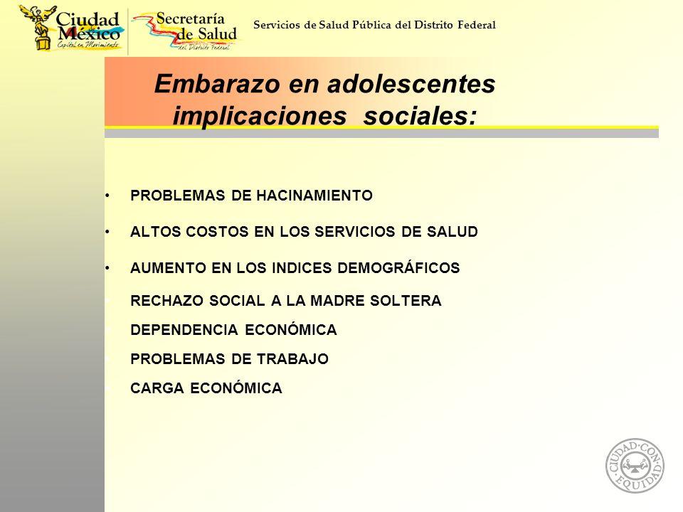 Servicios de Salud Pública del Distrito Federal Embarazo en adolescentes implicaciones sociales: PROBLEMAS DE HACINAMIENTO ALTOS COSTOS EN LOS SERVICI