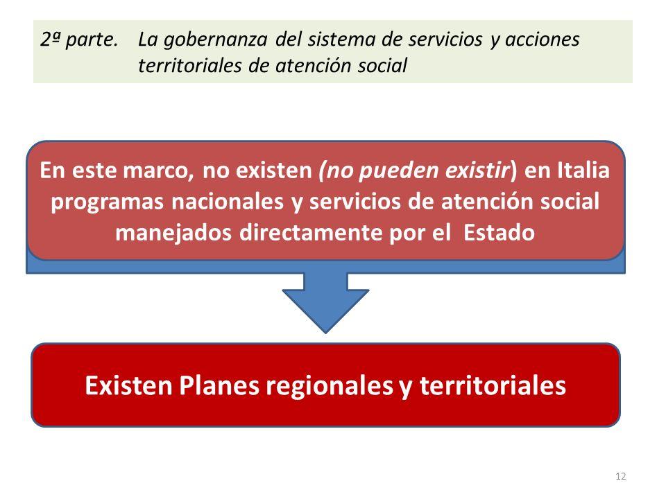 En este marco, no existen (no pueden existir) en Italia programas nacionales y servicios de atención social manejados directamente por el Estado Existen Planes regionales y territoriales 2ª parte.
