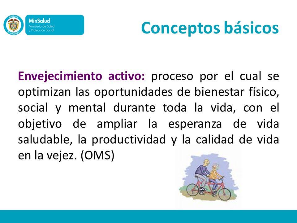 Envejecimiento activo: proceso por el cual se optimizan las oportunidades de bienestar físico, social y mental durante toda la vida, con el objetivo d