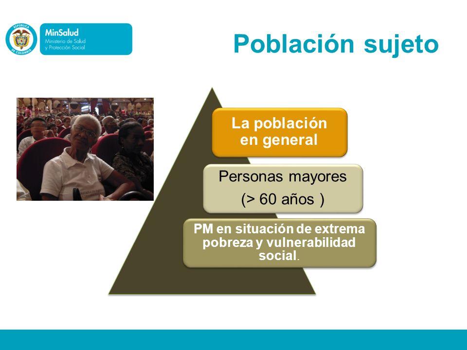 Población sujeto La población en general Personas mayores (> 60 años ) PM en situación de extrema pobreza y vulnerabilidad social.