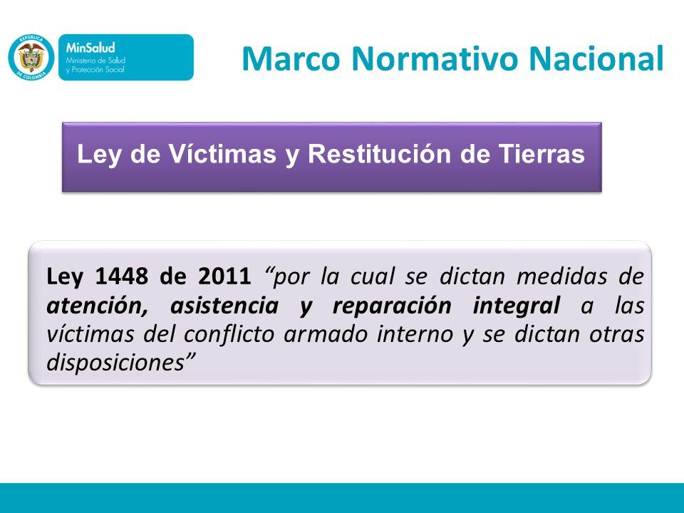 Ley de Víctimas y Restitución de Tierras Marco Normativo Nacional Ley 1448 de 2011 por la cual se dictan medidas de atención, asistencia y reparación