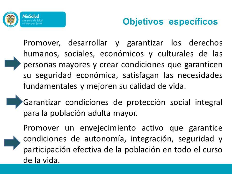 Objetivos específicos Promover, desarrollar y garantizar los derechos humanos, sociales, económicos y culturales de las personas mayores y crear condi
