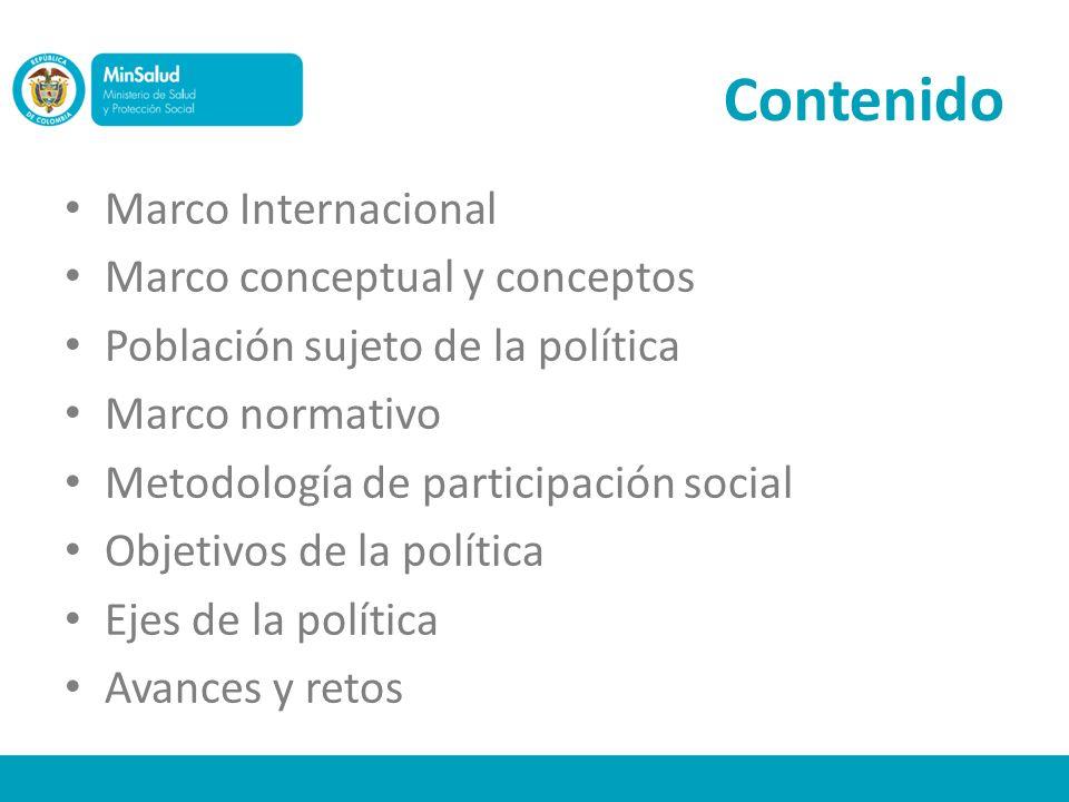 Contenido Marco Internacional Marco conceptual y conceptos Población sujeto de la política Marco normativo Metodología de participación social Objetiv