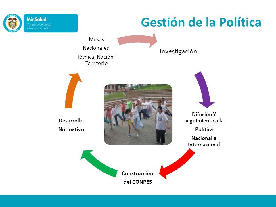 Gestión de la Política Investigación Difusión Y seguimiento a la Política Nacional e Internacional Construcción del CONPES Desarrollo Normativo Mesas