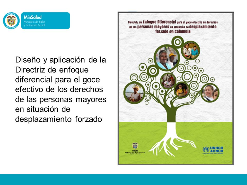 Diseño y aplicación de la Directriz de enfoque diferencial para el goce efectivo de los derechos de las personas mayores en situación de desplazamient
