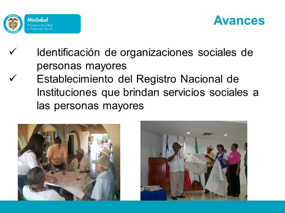 Identificación de organizaciones sociales de personas mayores Establecimiento del Registro Nacional de Instituciones que brindan servicios sociales a