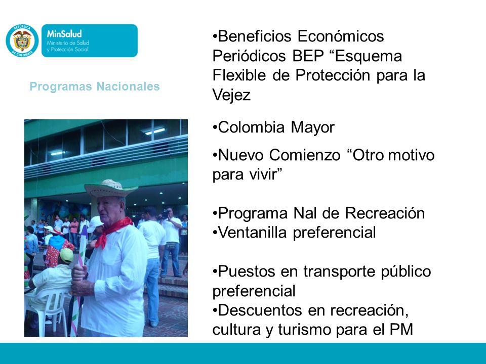 Beneficios Económicos Periódicos BEP Esquema Flexible de Protección para la Vejez Colombia Mayor Nuevo Comienzo Otro motivo para vivir Programa Nal de