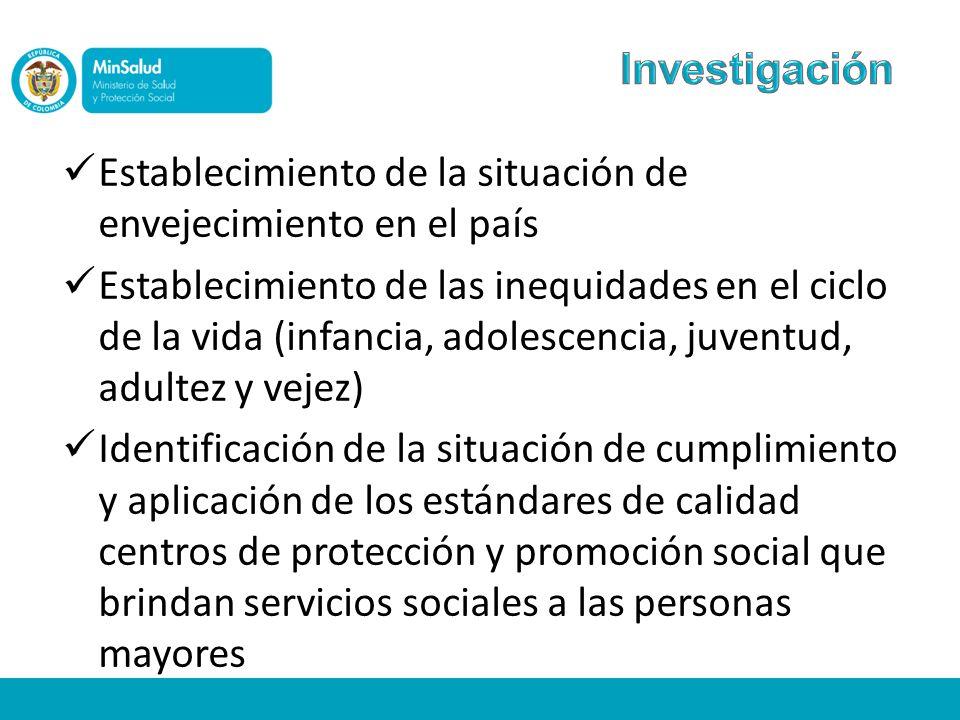 Establecimiento de la situación de envejecimiento en el país Establecimiento de las inequidades en el ciclo de la vida (infancia, adolescencia, juvent