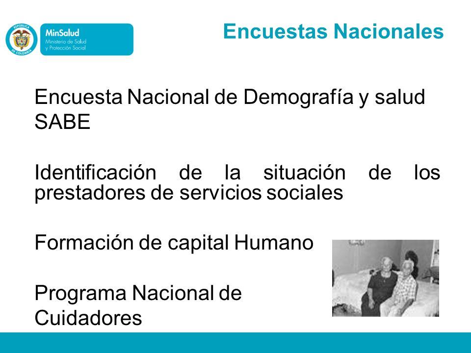 Encuesta Nacional de Demografía y salud SABE Identificación de la situación de los prestadores de servicios sociales Formación de capital Humano Progr