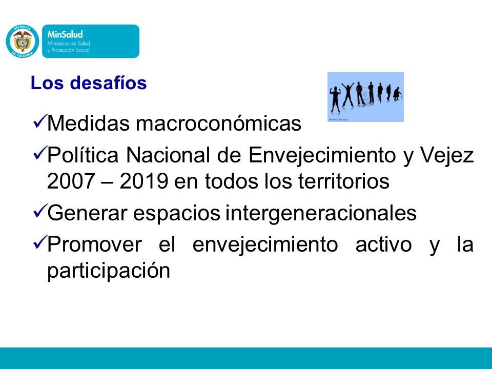 Medidas macroconómicas Política Nacional de Envejecimiento y Vejez 2007 – 2019 en todos los territorios Generar espacios intergeneracionales Promover