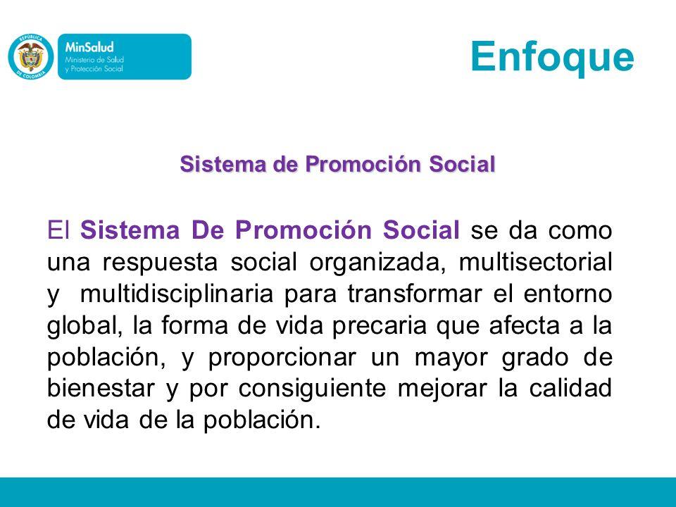 Enfoque El Sistema De Promoción Social se da como una respuesta social organizada, multisectorial y multidisciplinaria para transformar el entorno glo