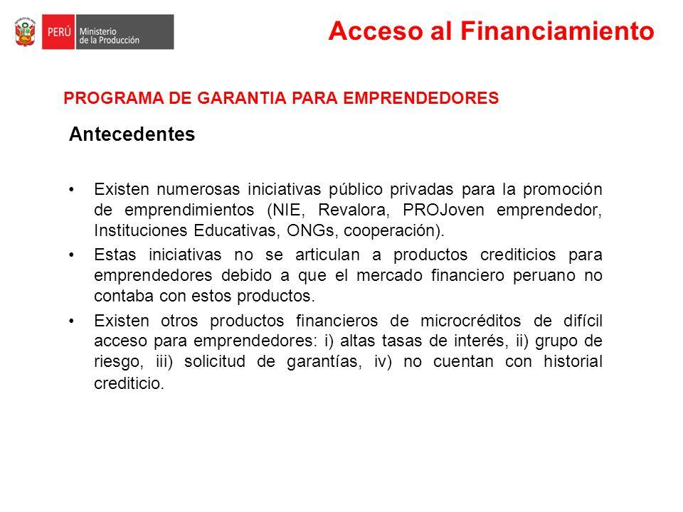 Acceso al Financiamiento Existen numerosas iniciativas público privadas para la promoción de emprendimientos (NIE, Revalora, PROJoven emprendedor, Ins