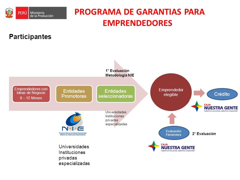 PROGRAMA DE GARANTIAS PARA EMPRENDEDORES Participantes Emprendedores con Ideas de Negocio 0 – 12 Meses Entidades Promotoras Entidades seleccionadoras