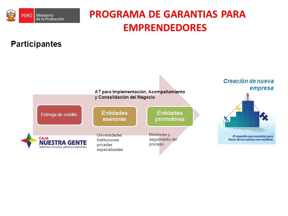PROGRAMA DE GARANTIAS PARA EMPRENDEDORES Participantes Entrega de crédito Entidades asesoras Entidades promotoras Universidades Instituciones privadas