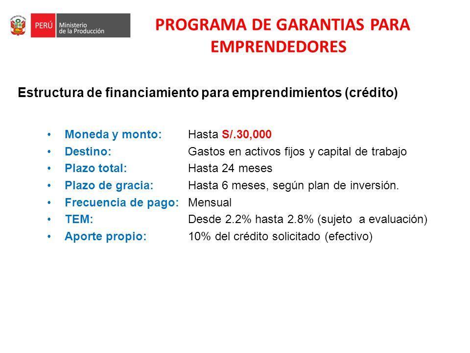PROGRAMA DE GARANTIAS PARA EMPRENDEDORES Estructura de financiamiento para emprendimientos (crédito) Moneda y monto: Hasta S/.30,000 Destino: Gastos e