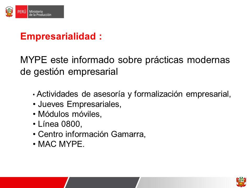Empresarialidad : MYPE este informado sobre prácticas modernas de gestión empresarial Actividades de asesoría y formalización empresarial, Jueves Empr
