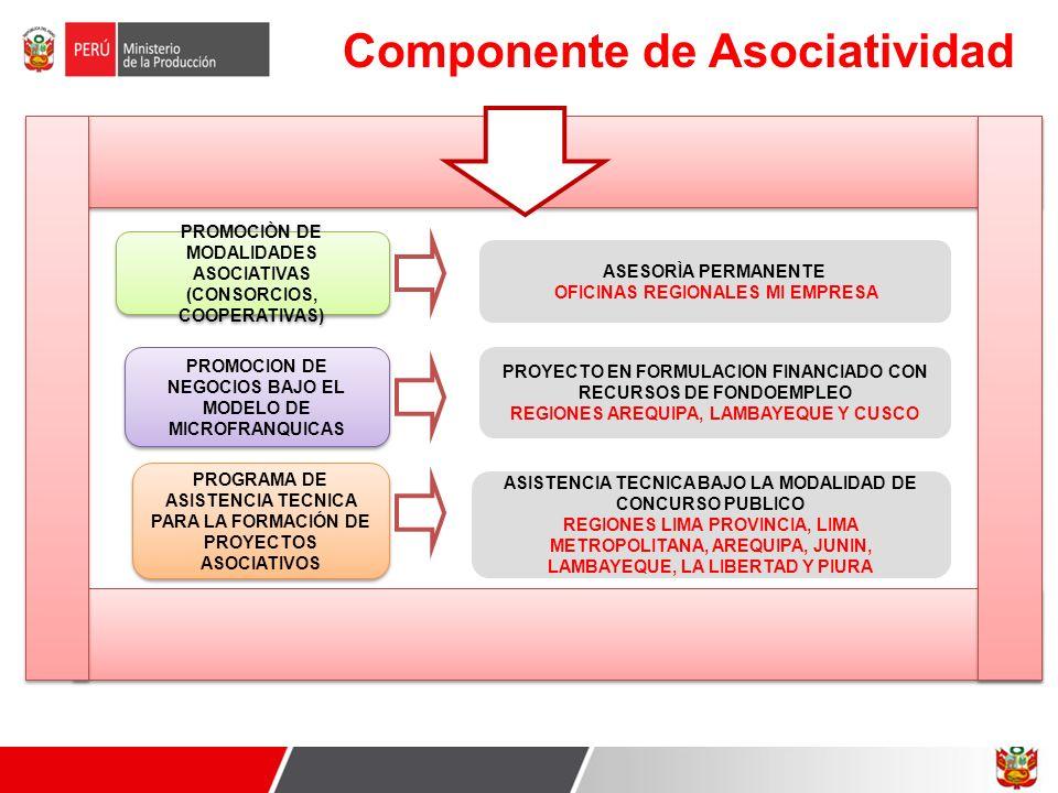 Componente de Asociatividad PROMOCIÒN DE MODALIDADES ASOCIATIVAS (CONSORCIOS, COOPERATIVAS) PROMOCIÒN DE MODALIDADES ASOCIATIVAS (CONSORCIOS, COOPERAT