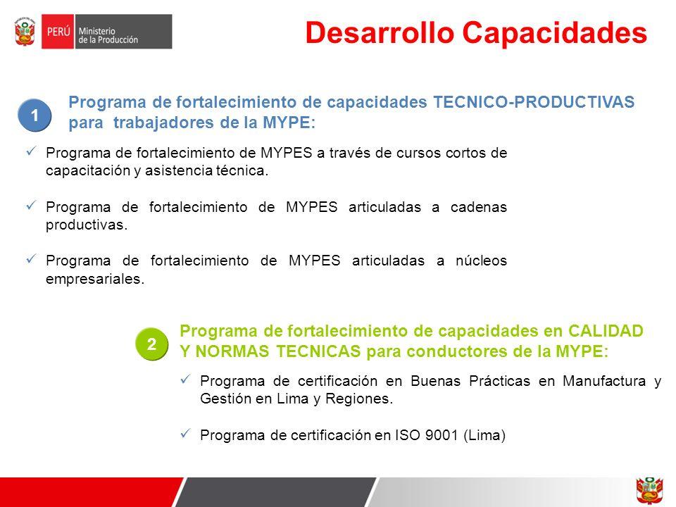 Desarrollo Capacidades Programa de fortalecimiento de MYPES a través de cursos cortos de capacitación y asistencia técnica. Programa de fortalecimient