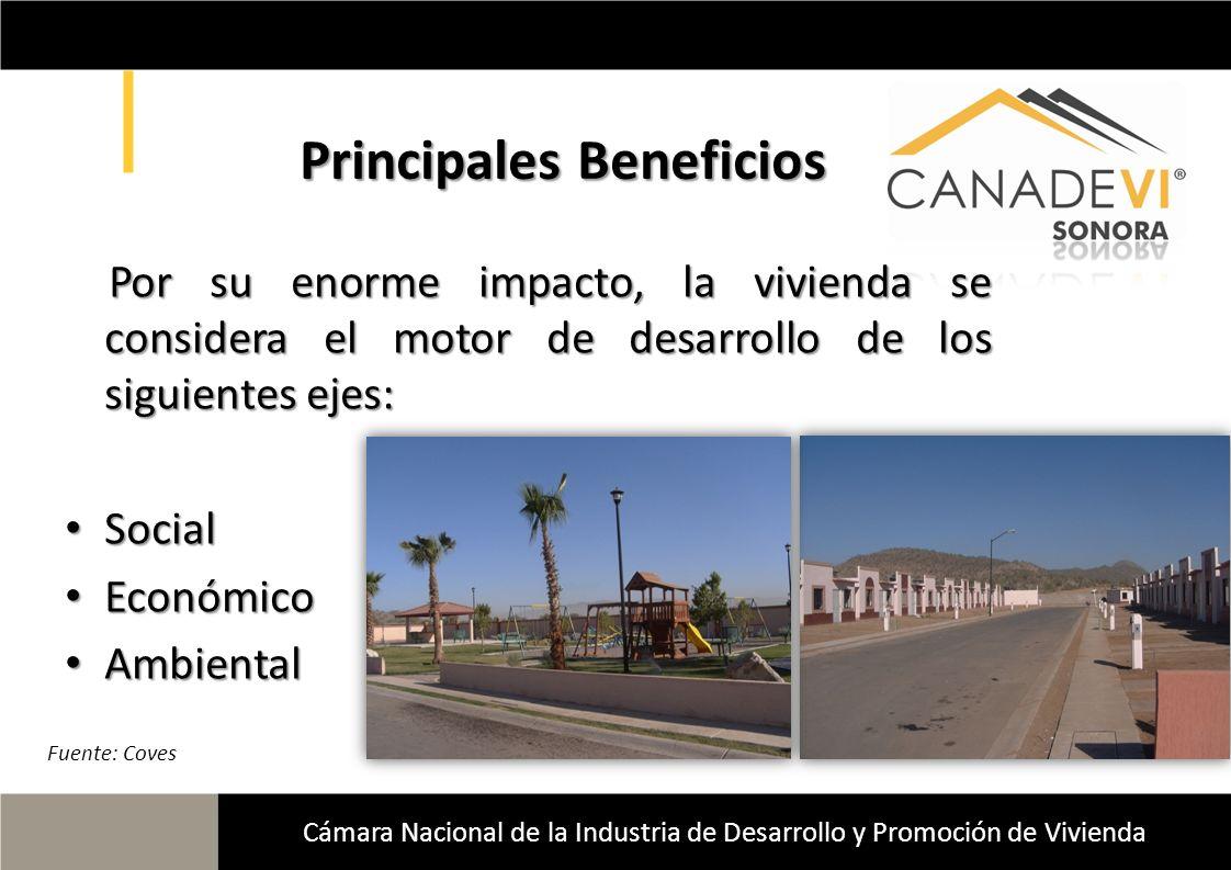 Cámara Nacional de la Industria de Desarrollo y Promoción de Vivienda Principales Beneficios Por su enorme impacto, la vivienda se considera el motor
