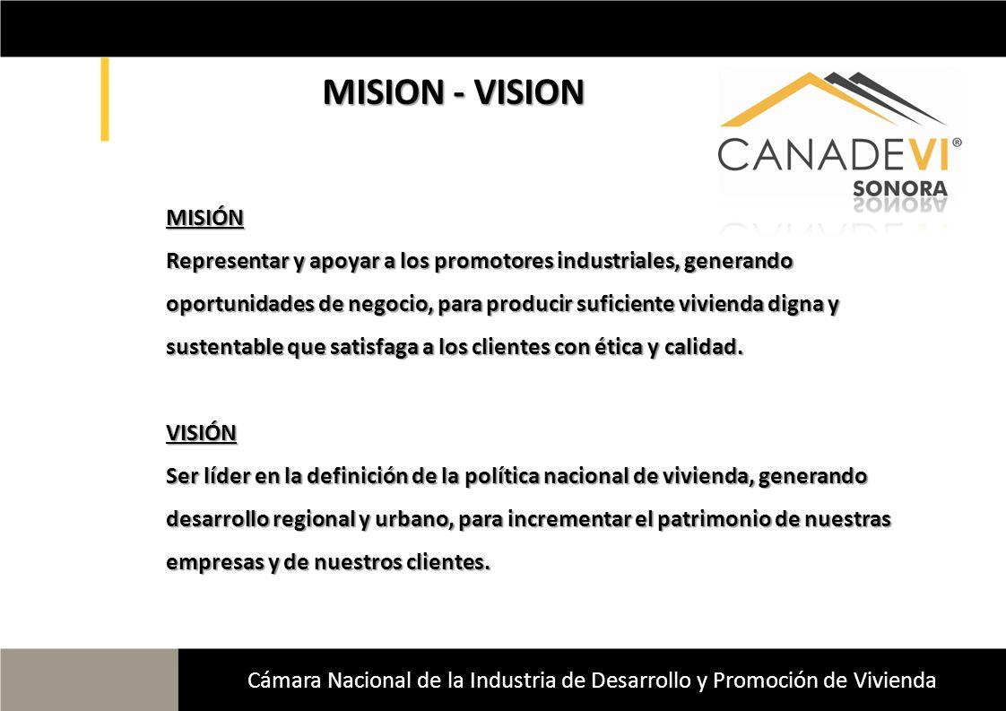MISION - VISION MISION - VISION Cámara Nacional de la Industria de Desarrollo y Promoción de Vivienda MISIÓN Representar y apoyar a los promotores ind